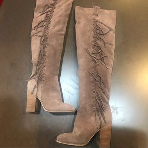 Carlos Santana Suede Over the Knee Fringe Boots